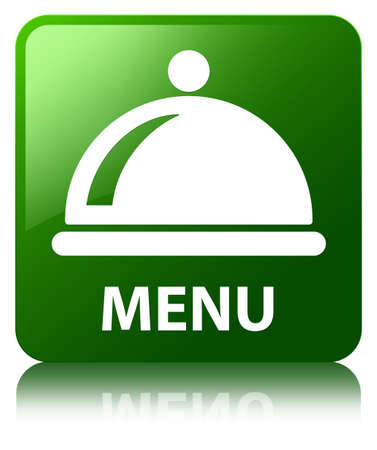 Menu (food dish icon) green square button photo