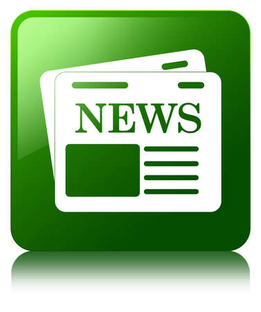 Newspaper icon green square button photo