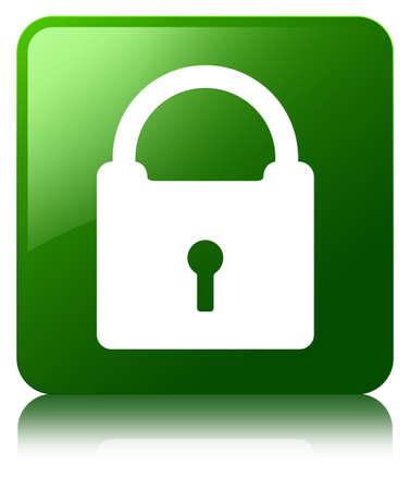 Padlock icon green square button photo