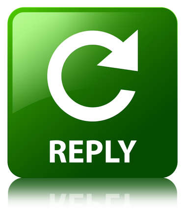 reply: Reply green square button Stock Photo