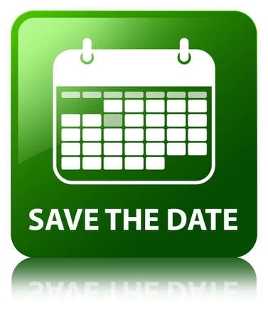 Save the date green square button photo
