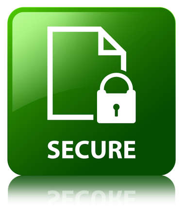 encrypted files icon: Secure (document padlock icon) green square button Stock Photo