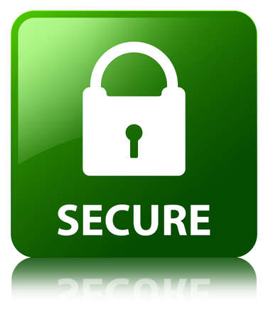 secure: Secure green square button Stock Photo