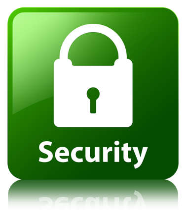 Security (padlock icon) green square button photo