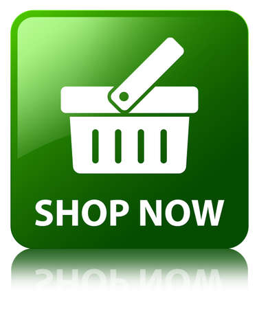 Shop now green square button photo