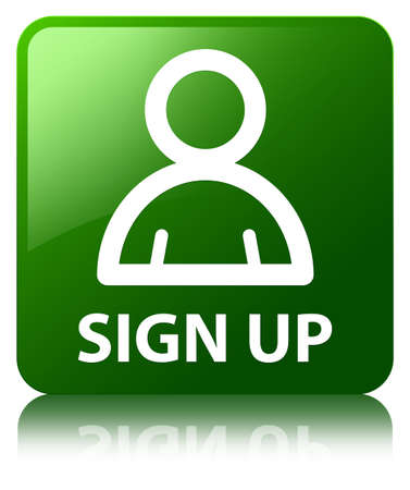 Sign up (member icon) green square button photo
