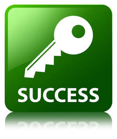 Success (key icon) green square button photo