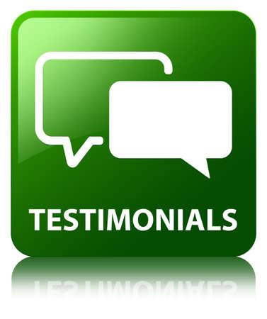 authenticate: Testimonials green square button