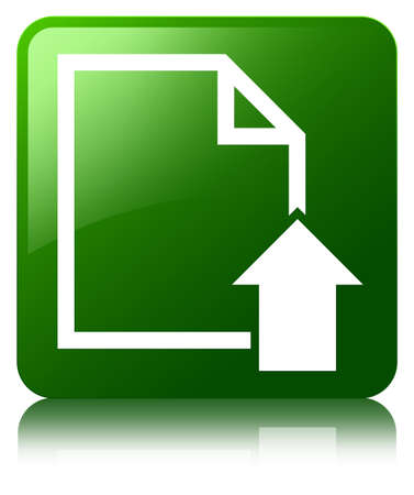 uploading: Upload document icon green square button Stock Photo