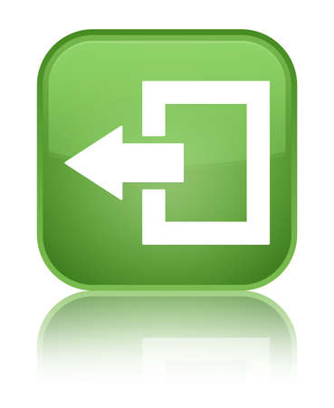 log off: Logout icon green square button