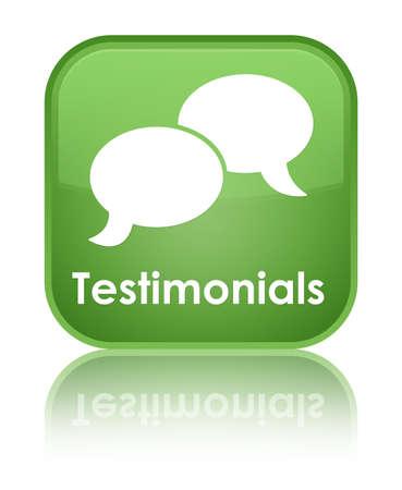 Testimonials (chat icon) green square button photo