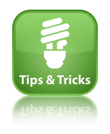 Tips and tricks (bulb icon) green square button photo