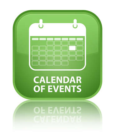 Calendar of events green square button photo