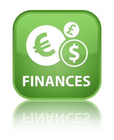 Finances green square button photo