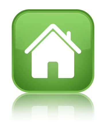 Home icon green square button photo