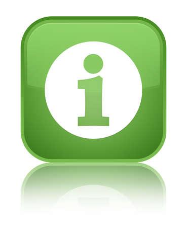 Info icon green square button Stock Photo