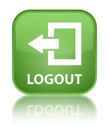 log off: Logout green square button Stock Photo