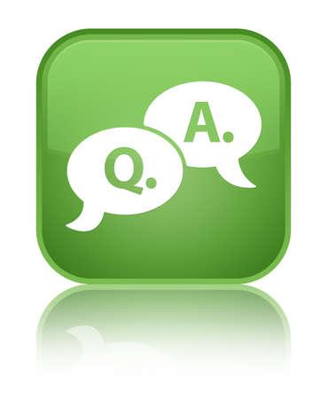 Question answer bubble icon green square button photo