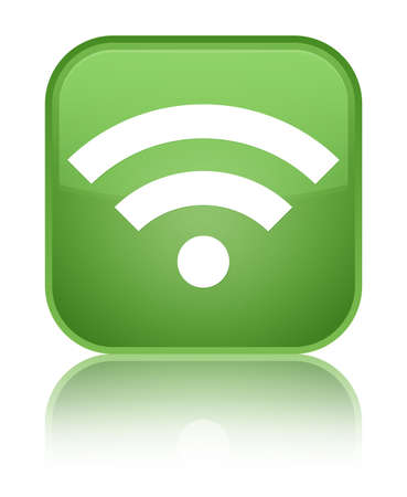 Wifi icon green square button photo