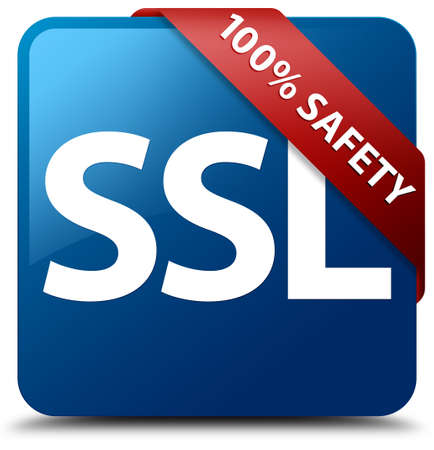 encrypted: 100 percent safety (SSL icon) glossy blue square button Stock Photo