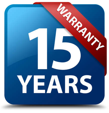 15: 15 years warranty glossy blue square button Stock Photo