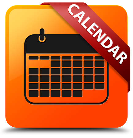red ribbon week: Calendar glossy yellow square button Stock Photo