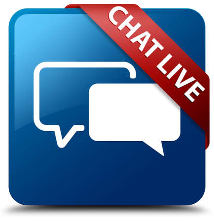 Chat live glossy blue square button photo