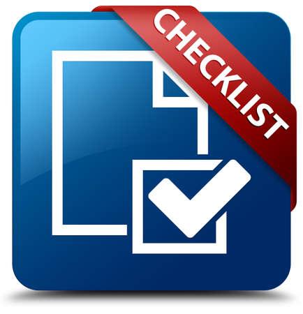 Checklist glossy blue square button photo