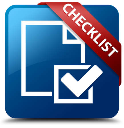 Checklist glossy blue square button photo