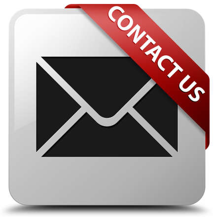 email contact: Contact us (email icon) glossy white square button