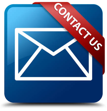 Contact us glossy blue square button photo