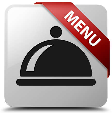 Menu glossy white square button photo
