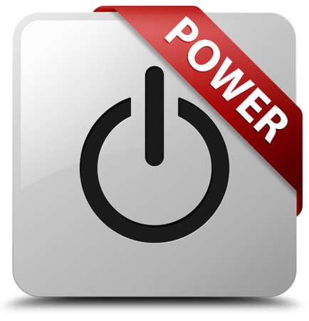 Power glossy white square button photo