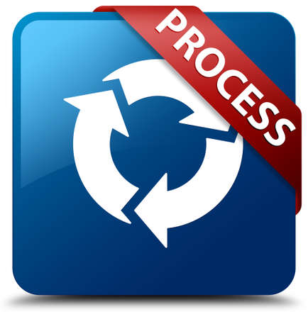 Process (update icon) glossy blue square button photo