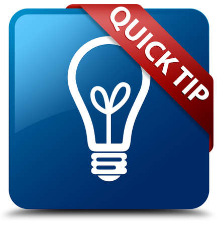 Quick tip (bulb icon) glossy blue square button