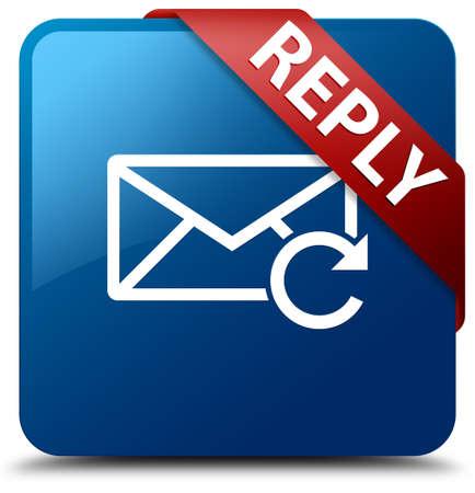 Rispondi icona e-mail lucido pulsante blu quadrata Archivio Fotografico