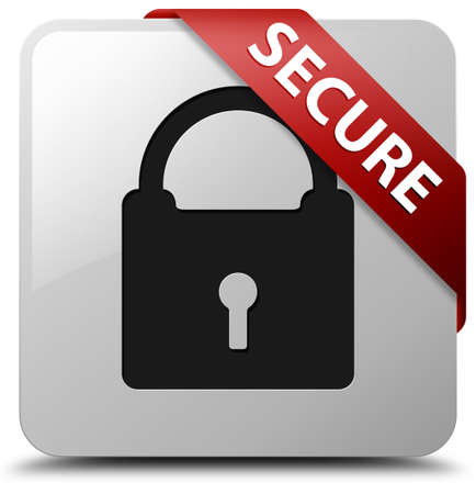 Secure (padlock icon) glossy white square button