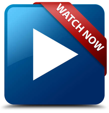 Watch now glossy blue square button 스톡 콘텐츠