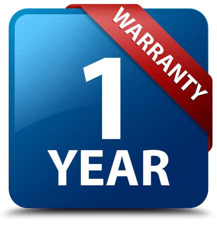 1 year warranty: 1 year warranty glossy blue square button