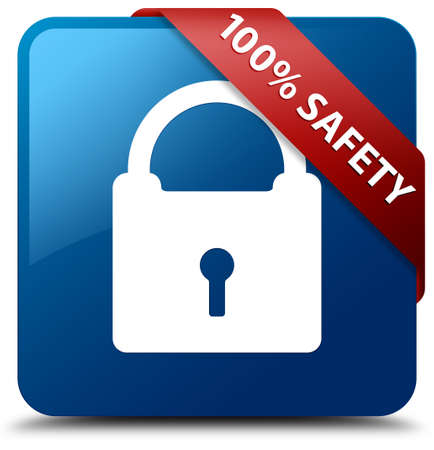 100 percent safety (Padlock icon) glossy blue square button photo