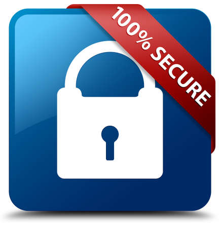 encrypted: 100 percent secure (Padlock icon) glossy blue square button