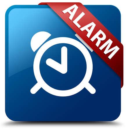 Alarm glossy blue square button photo