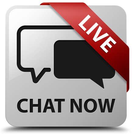 Chatten Sie jetzt live glänzend weißen Quadrat-Taste Standard-Bild - 32062594