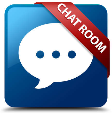 chat room: Chat room glossy blue square button