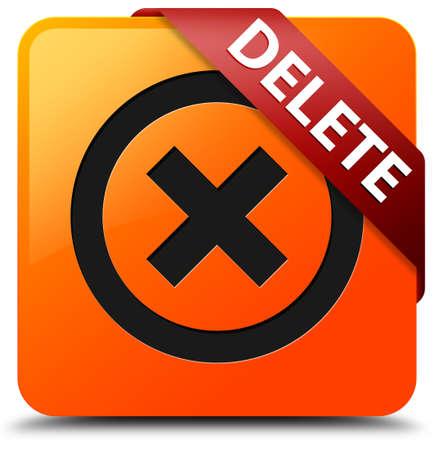 Delete glossy yellow square button photo