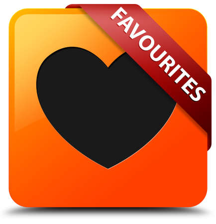 Favourites glossy yellow square button photo