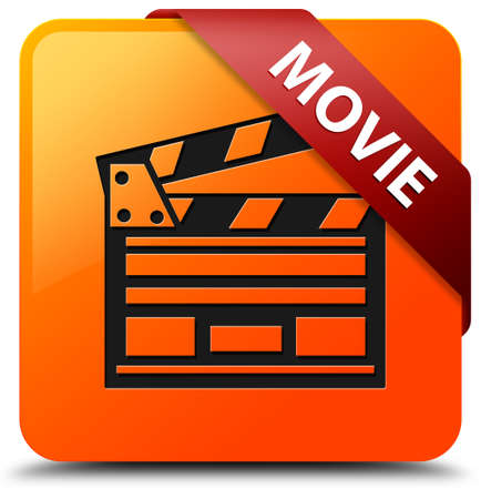 Movie glossy yellow square button photo