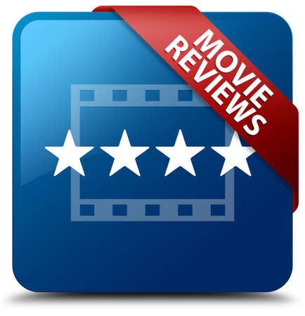 Movie reviews glossy blue square button photo