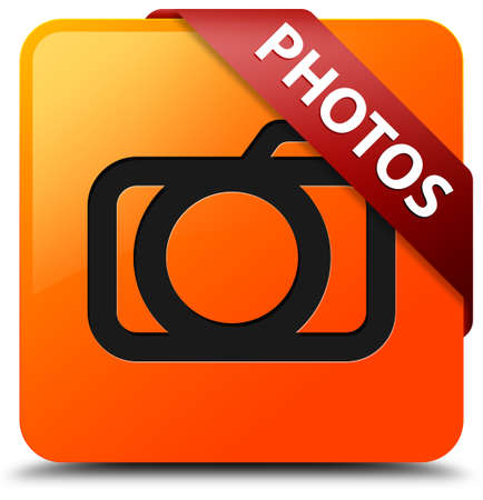 Photos glossy yellow square button photo