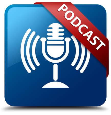 Podcast glanzende blauwe knop vierkante